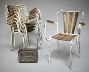 Image of fauteuils de bistrot tolix / tolix bistro chairs