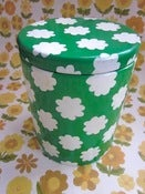 Image of 1970s Green and White Flower Tin