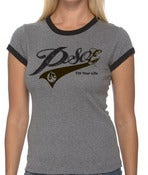 Image of PSOE Ladies Ringer Tee (Black/Grey)