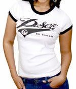 Image of PSOE Ladies Ringer Tee (Black/White)