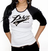 PSOE Ladies Baseball Tee (Black/White)