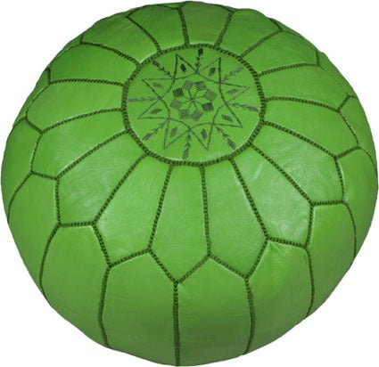 Image of Moroccan Leather Pouf, Bright Colors