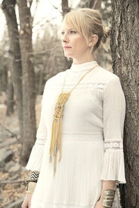 Image of Camel Moonlight Macrame Necklace