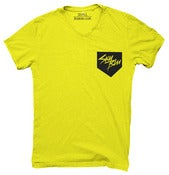 Image of Sky Blu Neon Yellow Pocket V Neck