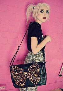 Image of Black Floral Real Leather Satchel Bow Bag