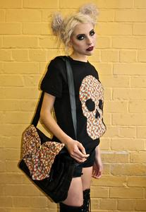 Image of Black Daisy Print Real Leather Satchel Bow Bag