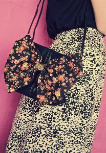 Image of Black Floral Print Bow Black Real Leather Bag