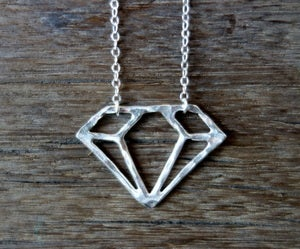 Image of Sterling Silver Handmade Diamond Outline Pendant