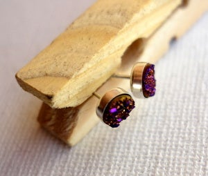 Image of Tiny Purple Drusy Studs