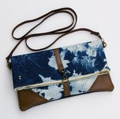 Image of - S O L D - hand bleached denim foldover bag with removable leather strap (b)