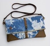 Image of hand bleached denim foldover bag with removable leather strap (d)