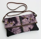 Image of - S O L D - hand bleached + over-dyed canvas foldover bag with removable leather strap (a)