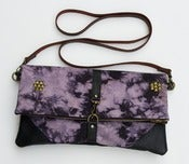 Image of hand bleached + over-dyed canvas foldover bag with removable leather strap (b)