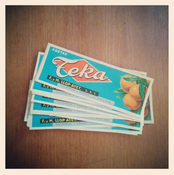 Image of Vintage orange fruit box labels  x 3