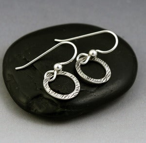 Image of Sterling Silver Mini Hoop Earrings - Grass Texture
