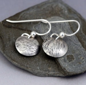 Image of Small Sterling Silver Circle Earrings - Grass Texture