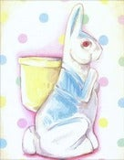 Image of Vintage inspired Paper Mache Rabbit matted ready to frame print (blue)