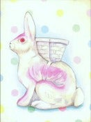 Image of Vintage inspired Paper Mache Rabbit matted ready to frame print (pink)