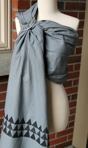 "Image of Umi Sling Baby Carrier: Handprinted Cotton-Linen Blend ""This Way Gray"""