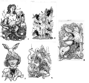 Image of various 11 x 17 Ink Drawings