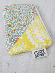 Image of Yellow Floral + Floral medium zipped pouch