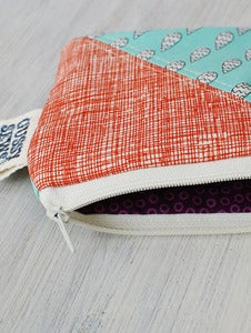 Image of Teal Rain + Orange square zip pouch