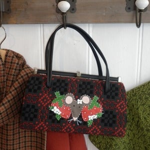 Image of Vintage Welsh Wool Strawberry Mouse Handbag