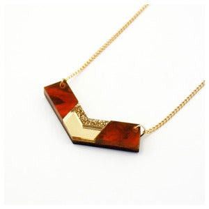 Image of Inlaid Chevron Necklace - Tortoiseshell