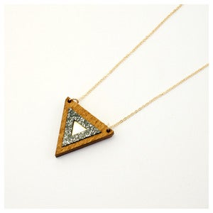 Image of Inlaid Triangle Necklace - Wood
