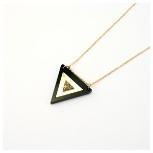 Image of Inlaid Triangle Necklace - Black