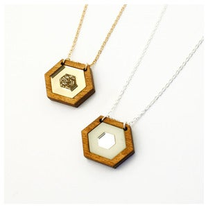 Image of Inlaid Hexagon Necklace - Wood