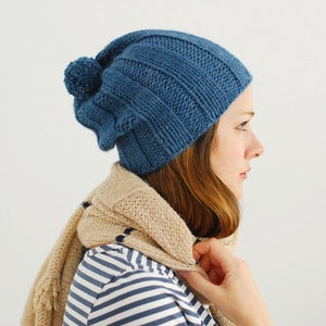 Image of Ribbstickad Hat Knitting Pattern PDF Download