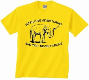 Image of ELEPHANTS NEVER FORGET AND THEY NEVER FORGIVE T-SHIRT