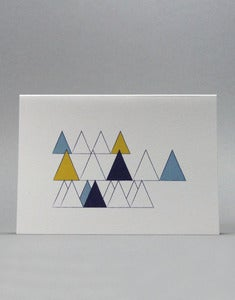 Image of Teal Wooded Hills Triangles Card