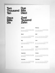 Image of Limited Edition 2010 Letterpress Calendar