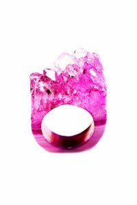 Image of NEW IN! FLAMINGO  Semi-Precious Drusy Ring (Large)