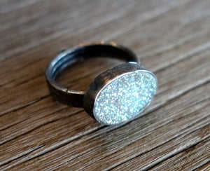 Image of Snow White Drusy Oval Ring