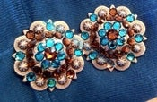 Image of Swarovski Rhinestone Conchos - Smoke Topaz and Blue Zircon