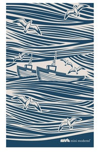 Image of Whitby Tea Towel - Indigo