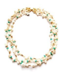 Image of Freshwater Pearl &amp; Turquoise Necklace