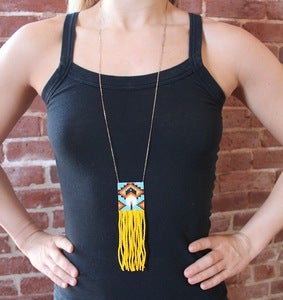 Image of Hand Beaded Fringe Feather Necklace