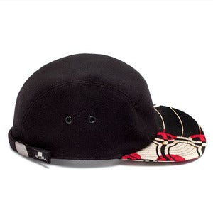 Image of MOUPIA Black Wool/Kitenge Dots 5 Panel hat