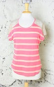 Image of Stripes'n'Lace Top: Coral
