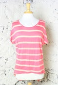 Image of Stripes &amp; Sheer Button Back Top: Coral