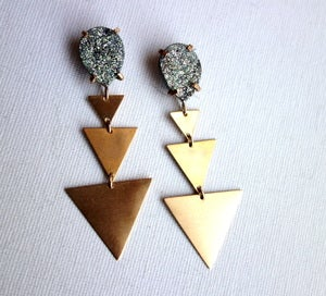 Image of Steel Blue Drusy and Brass Triangle Dangles