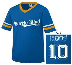 Image of Limited Edition 10 Year Anniversary Baseball Tee Royal/Gold/White