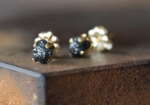 Image of Black Rough Diamond Stud Earrings
