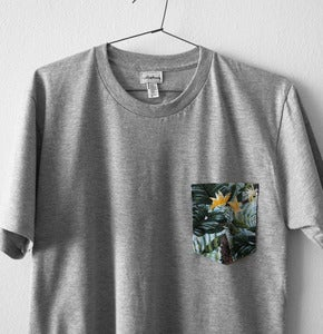 Image of TROPICAL POCKET TEE (grey)