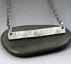 Image of Sterling Silver Bar Necklace - Grass Texture