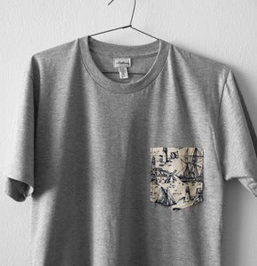 Image of OLD SCHOOL POCKET TEE (grey)